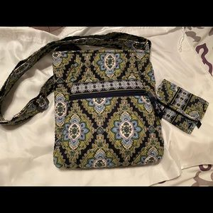 Vera Bradley cross body bag and matching wallet.